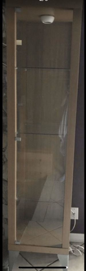 3 glass shelves and door cabinet for Sale in Tamarac, FL