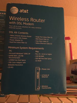 At&t wireles router with dsl modem for Sale in Houston, TX