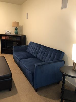 Excellent Condition! Blue velvet futon couch for Sale in Woodinville, WA