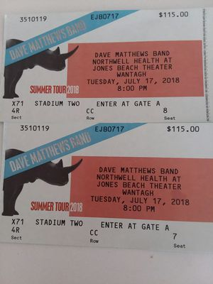 Dave Matthews @ Jones Beach 7/17 for Sale in New York, NY