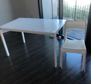 White ikea table + chairs for Sale in Nashville, TN
