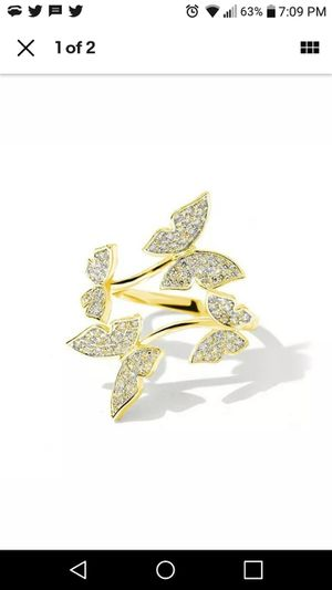 Vivid Flying Butterfly 18k Yellow Gold Filled Open Band Ring Size Adjustable for Sale in Akron, OH