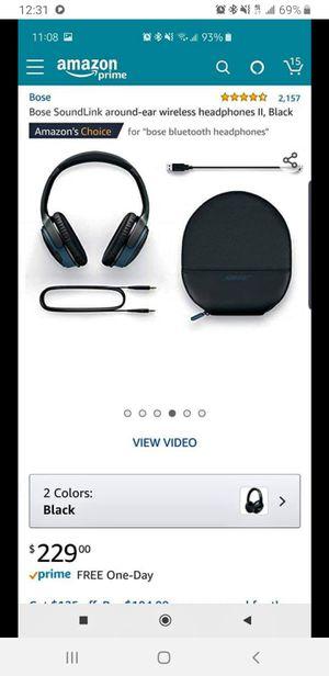 Bose soundlink around-ear wireless headphones II - black for Sale in Philadelphia, PA