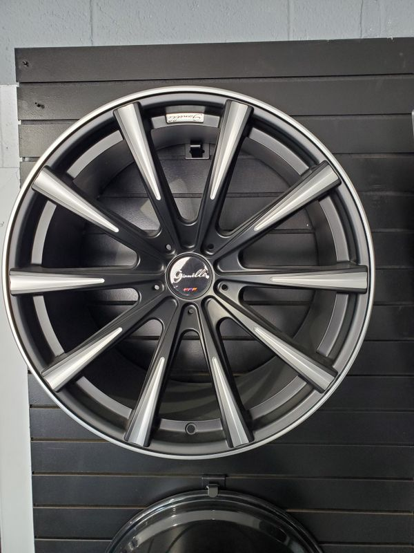 """20"""" staggered Gianelle Cuba 10 black ball cut accent fits Mercedes BMW audi Chevy rims"""