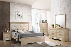 Brand new leather diamond bedroom set 4 pc no mattress for Sale in Davie, FL