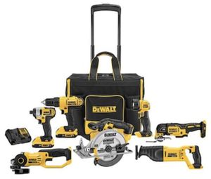 NEW - DeWalt 7-Tool 20 Volt Max Power Tool Combo Kit w/ Soft Rolling Case, Charger, 2 Batteries for Sale in Clifton, VA