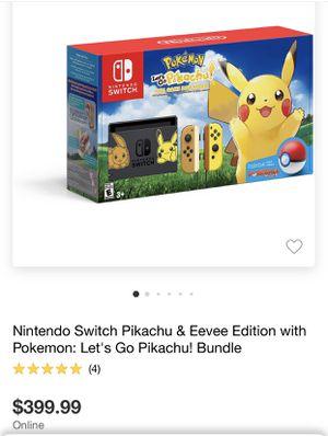 Nintendo Switch Console Bundle- Pikachu & Eevee Edition with Pokemon: Let's Go, Pikachu! + Poke Ball Plus for Sale in Santa Monica, CA