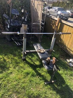 olympic bench press set for Sale in Seattle,  WA