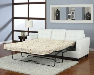 New White Bonded Leather Sofa Sleeper Couch w/ Queen Mattress for Sale in Orange, CA