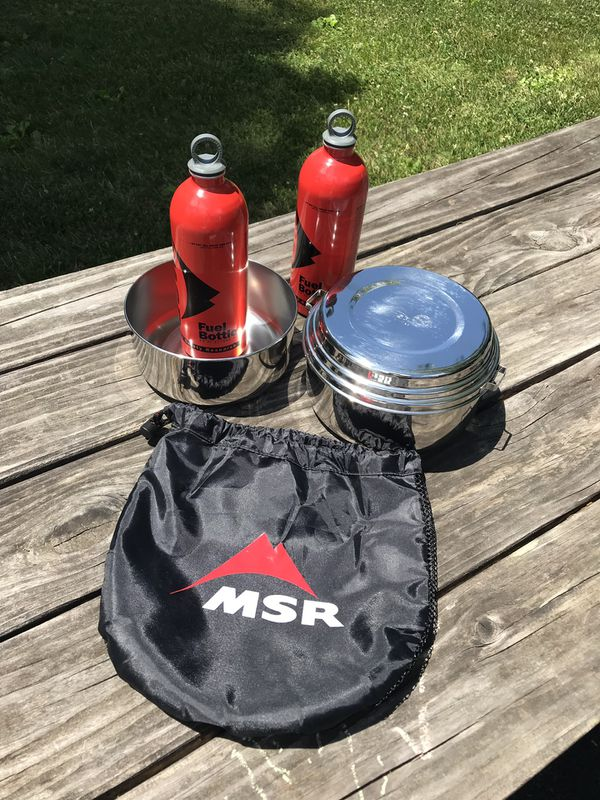 Camping MSR pots and fuel bottles in new condition