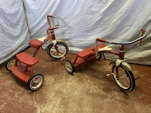 2 Radio Flyer Retro Red Tricycles - Metal Old School Look - Handlebar Fringe for Sale in Lauderdale Lakes, FL