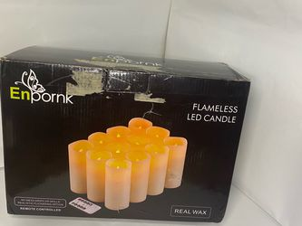 Enpornk Set of 12 Flameless Candles Battery Operated LED Pillar Real Wax Electric Candles with Remote Control Cycling 24 Hours Timer for Sale in The Bronx,  NY