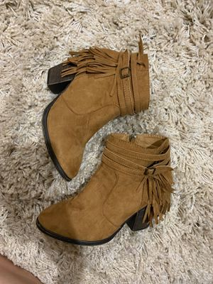 Brown fringe suede booties size 7 for Sale in Chandler, AZ
