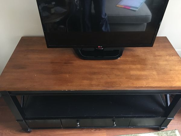 Wooden black tv stand