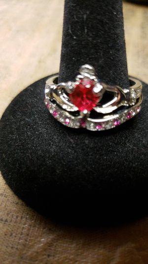 Silver ruby gem ring for Sale in Farmville, VA