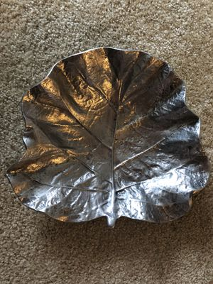 TJ Maxx silver tone large decorative leaf bowl for Sale in Chevy Chase, MD