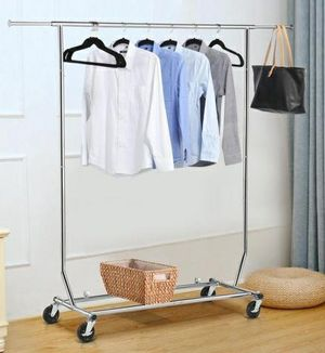 New in box 51x22x71 inches tall heavy duty commercial grade metal clothes clothing display organizer stand hanging garment rack in polished finished for Sale in Pico Rivera, CA