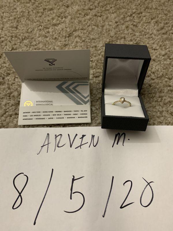 Imperial IGI Certified 3/8 Carat Pear Diamond Halo Engagement Ring Women's Sz 7