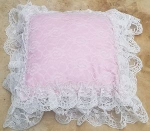 Shabby chic pink decorative pillow with lace for Sale in Three Rivers, MI