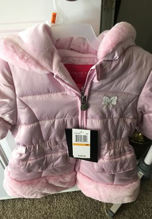 Beautiful NEW London fog baby light pink hooded fur jacket. for Sale in Apache Junction, AZ