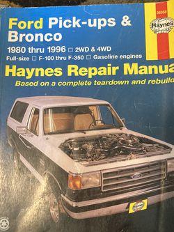 Ford Pick-ups and Bronco Haynes Repair Manual for Sale in Tacoma,  WA