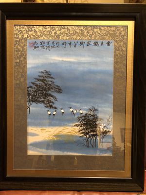Chinese crane painting for Sale in Wayland, MA