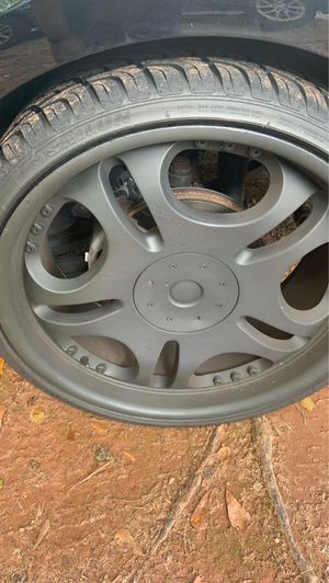22 inch black 5 lug adapter rims and tires for Sale in Decatur, GA