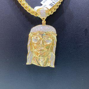 10kt Franko Chain And Diamond Jesus Pendant ,1 Ctw Real Diamonds for Sale in Dallas, TX