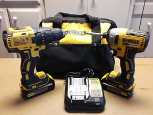 Dewalt drill impact combo two batteries charger and bag for Sale in Bakersfield, CA