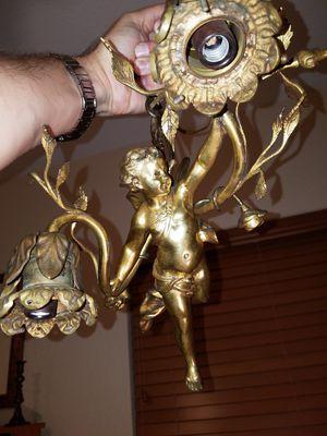 Antique 19th Century French Dore Bronze Hanging Cherub Light Fixture for Sale in Tamarac, FL