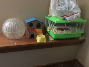 Hamster house cage and roller for Sale in Davenport, IA
