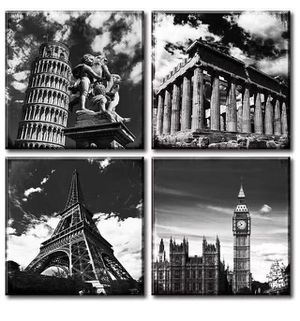 Black and White Art Canvas Print Wall Decor European Architecture Famous Leaning Tower of Pisa - Eiffel Tower - Parthenon & London Big Clock City Lan for Sale in Chino, CA