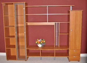 Entertainment Center w/ Bookshelves & Glass Cabinet for Sale in Gaithersburg, MD