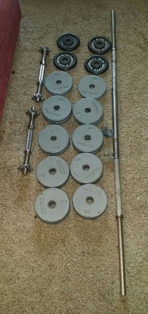 Weights 100lbs. 4x10lbs, 8x5lbs, 8x2.5lbs. Chrome 5 foot straight bar and 2 dumbbell bars. 6 weight locks. for Sale in Deerfield Beach, FL