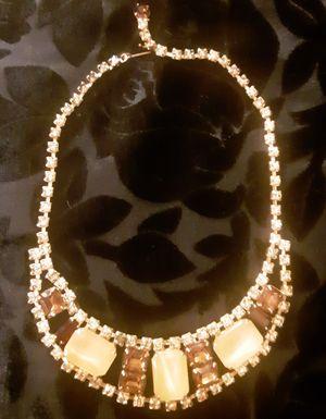 Vintage AMBER Rhinestone & Marbled Applejuice Bakelite Bib Choker Necklace c1940 for Sale in Tacoma, WA