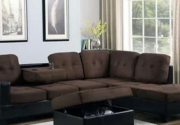 Park Place Sectional Sofa with Ottoman Brown S888 VENDORNEW ERA for Sale in Houston,  TX