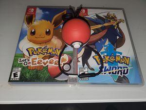 Pokemon Sword and Let's Go Eevee. for Sale in Fresno, CA