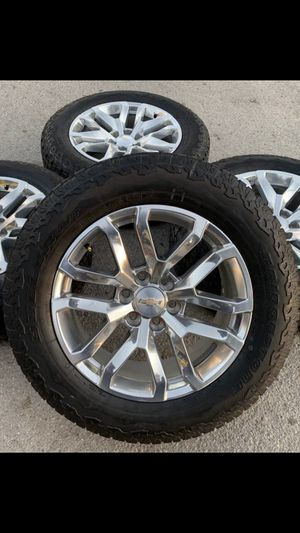 """New Chevy / GMC Factory 20"""" Rims And All Terrain TireS 6x5.5 Bolt pattern wheels Take offs off takeoffs pull 20s pulloffs stock stocks factory origin for Sale in Dallas, TX"""