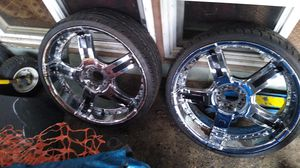 2 tire and Chrome rims Crusade HP 235/30 ZR22 90W XL 100.00 for the pair. for Sale in Tacoma, WA