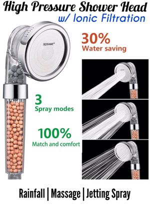 NOSAME Shower Head, Ionic Filter Filtration High Pressure Water Saving 3 Mode Function Spray Handheld Showerheads for Dry Hair & Skin SPA for Sale in Long Beach, CA