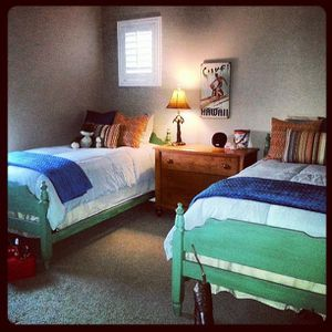 Vintage twin beds $300. Matching book/shoe rack $125 for Sale in Chino, CA