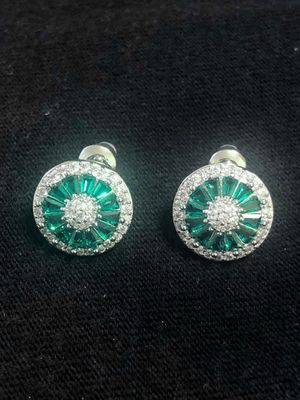 Sterling Silver Green CZ/ Crystal Earrings for Sale in Las Vegas, NV