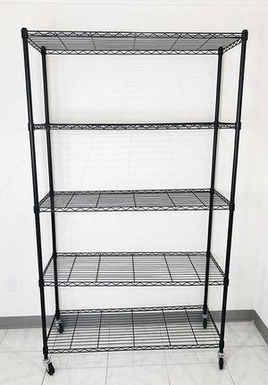 "Brand new $90 Metal 5-Shelf Shelving Storage Unit Wire Organizer Rack Adjustable w/ Wheel Casters 48x18x82"" for Sale in Pico Rivera, CA"