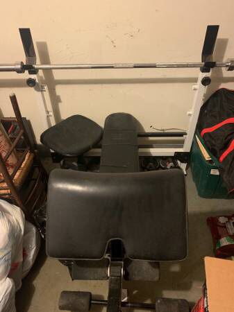 Bench Press with weight rack and dumbbells