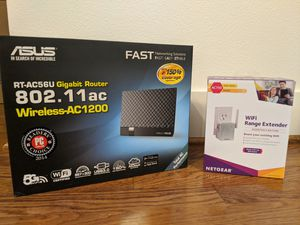 ASUS WiFi dual band router & Netgear range extender for Sale in Seattle, WA