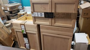 Clearance lot of 3 kitchen base and wall cabinets in unfinished german beech for Sale in Lewisville, TX