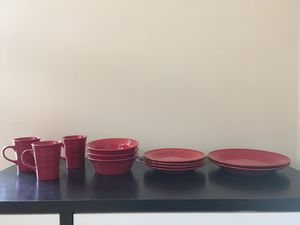 Red dish set with cups for Sale in Falls Church, VA