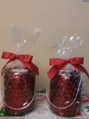 RED GLASS JARS SET (2) 7in tall for Sale in Tampa, FL