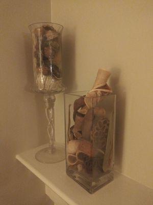 Potpourri glass decor jar vase set of 2 for Sale in Gaithersburg, MD