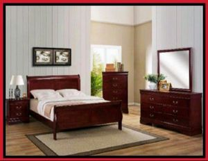 Cherry Wood Queen size 4 Piece Bedroom Set COLOR CHOICE for Sale in Glendale, AZ